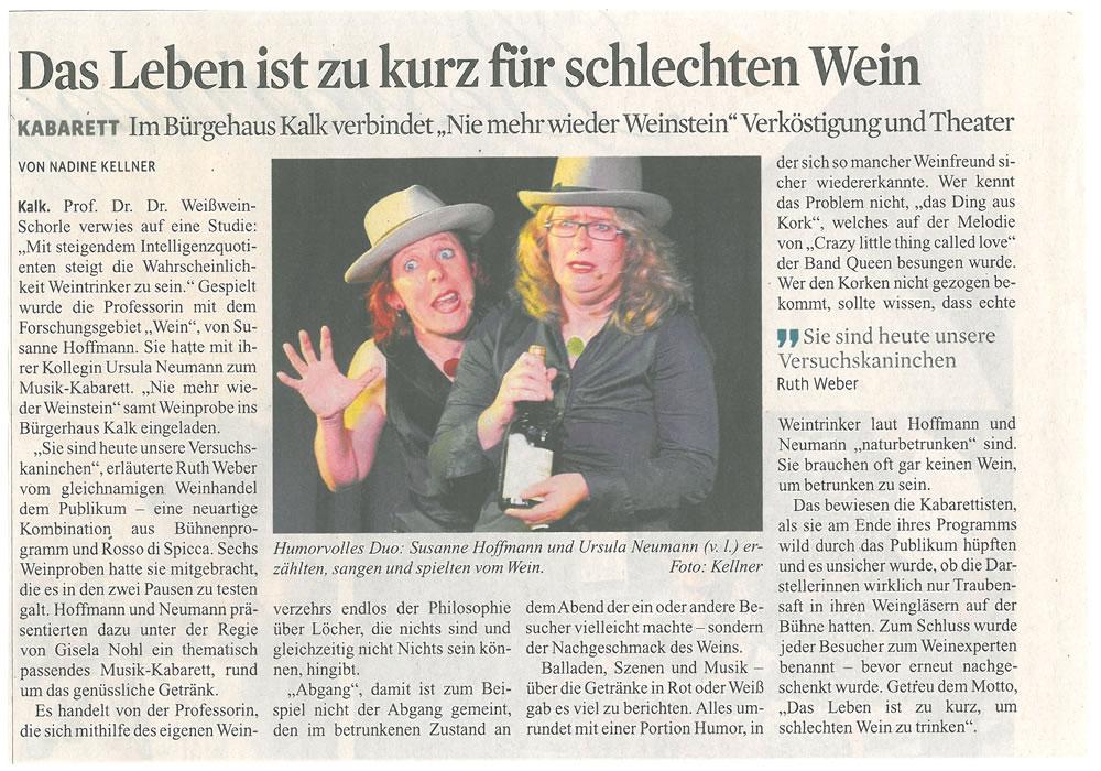 Sängerin und Chansonette Susanne Hoffmann mit Ursula Neumann | Musik-Kabarett