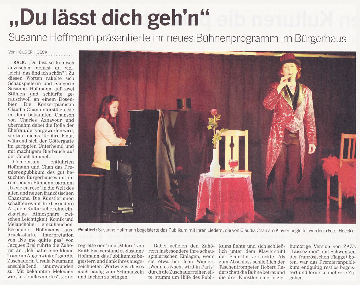 Sängerin und Chansonette Susanne Hoffmann | Konzert La vie en rose | Deutsche und französische Chansons